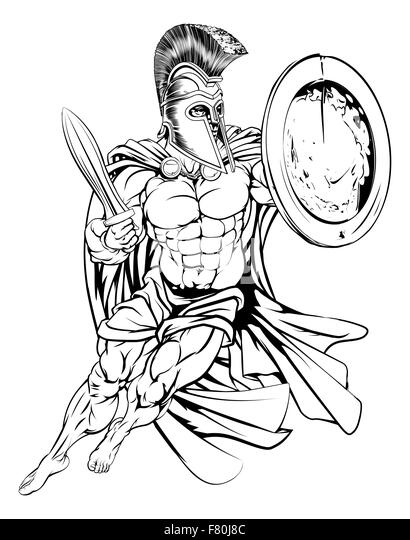 an illustration of a muscular strong greek spartan warrior stock image