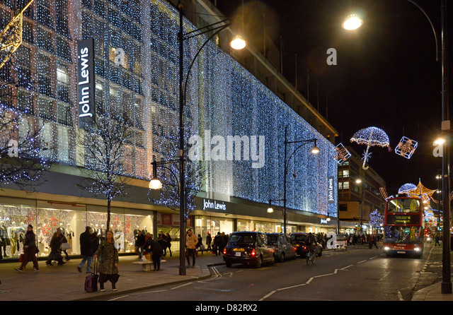 oxford street and john lewis department store with christmas lights stock image - Christmas Lights Store