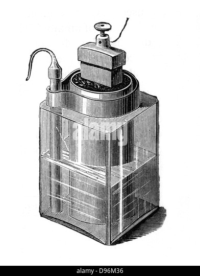 Wet battery leclance cell invented c1866 glass vessel containing