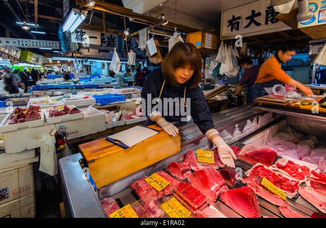 Asian fish market stock photos asian fish market stock for Tsukiji fish market japan