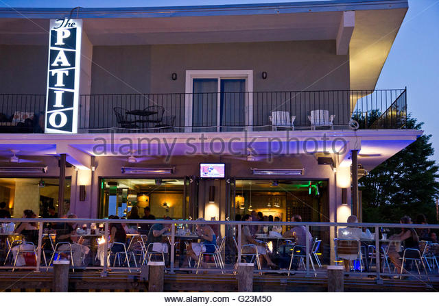 Outdoor Dining At The Patio, Freeport, Long Island, NY   Stock Image