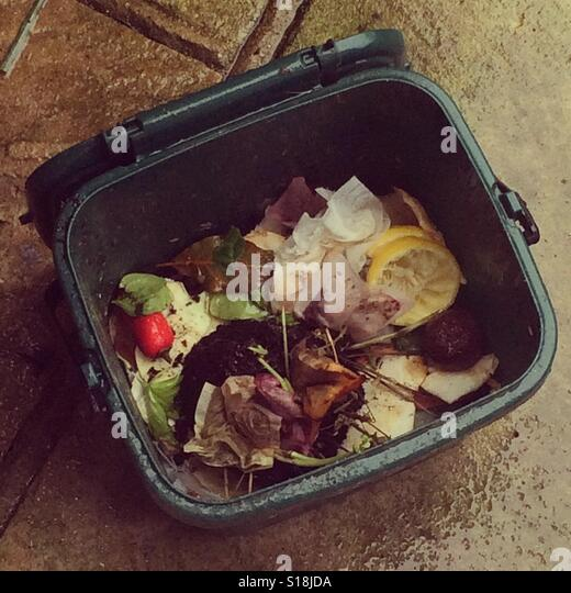 Waste Food Composting Bin On Patio In The Rain.   Stock Image