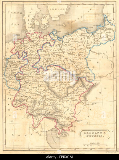 Prussia Germany Map Stock Photos Prussia Germany Map Stock - Germany map in 1850