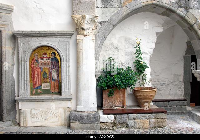 Greece Patmos St John Monastery Chora Stock Photos ...