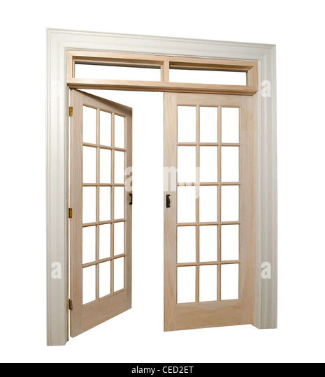 Double door white stock photos double door white stock for Double open french doors