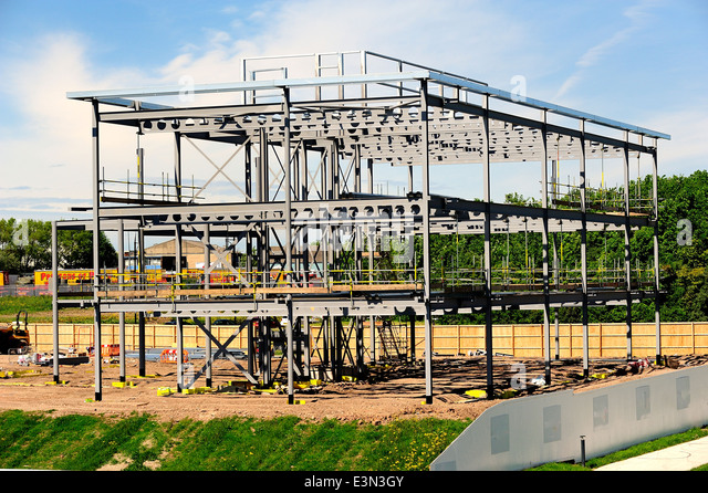 steel frame building under construction stock image