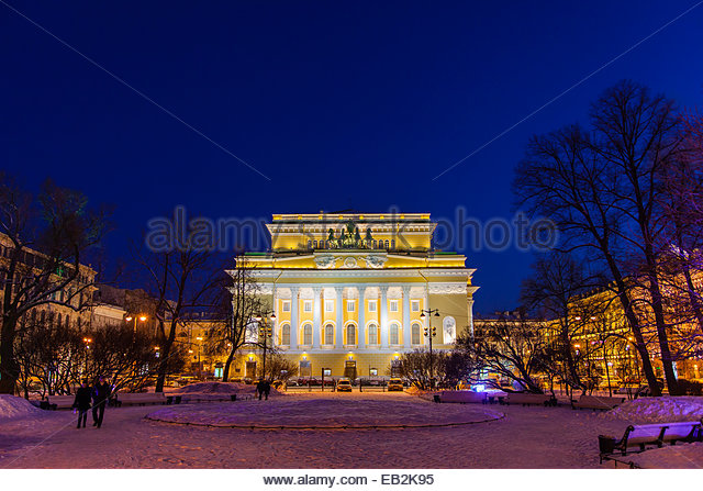 The Alexandrinsky Theatre  or Russian State Pushkin Academy Drama Theater  at night. Academy Theatre Stock Photos  amp  Academy Theatre Stock Images   Alamy