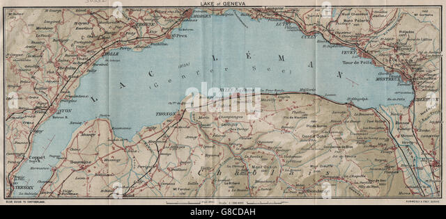 Switzerland Lausanne Vintage Map Stock Photos Switzerland - Lausanne city map