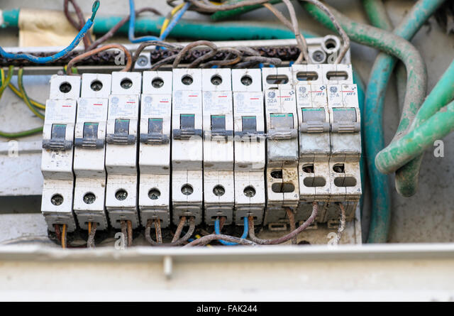 faulty electrical fuse box fak244 fuse box household stock photos & fuse box household stock images faulty fusebox switches at crackthecode.co