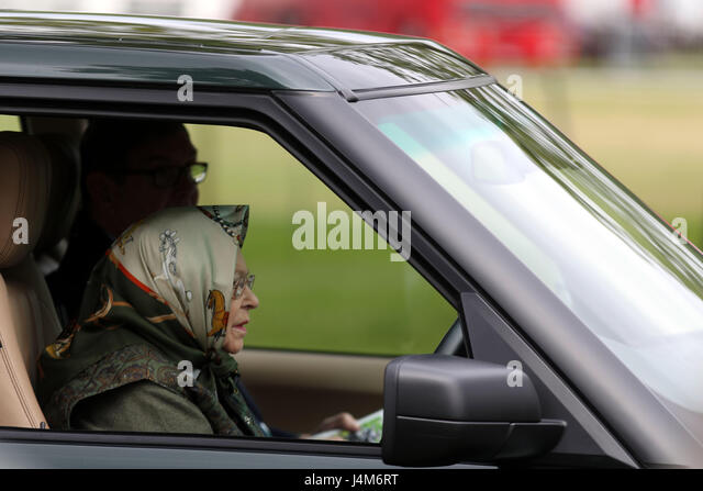 Queen Elizabeth II Watches The Land Rover Driving Grand Prix At Royal Windsor Horse Show