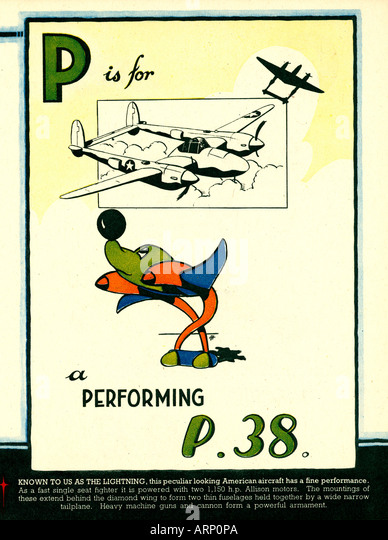 p is for p38 lightning 1943 english wartime childrens alphabet book of airplanes the american fighter