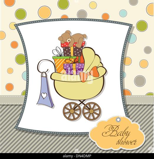 Baby Shower Card With Gift Boxes   Stock Image