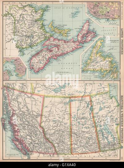 Old Map Newfoundland Stock Photos  Old Map Newfoundland Stock