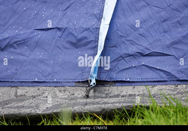 raining on the zips of the front door of a tent - Stock Image & Tent Zip Stock Photos u0026 Tent Zip Stock Images - Alamy