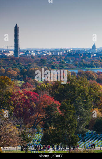 USA, Virginia, Arlington, Arlington National Cemetery, elevated view towards Washington Monument, US Capitol and - Stock Image