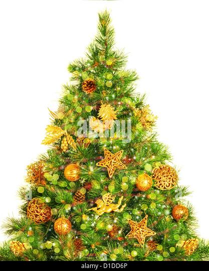 photo of beautiful decorated christmas tree isolated on white background decorative golden angel stars - Christmas Tree Angel