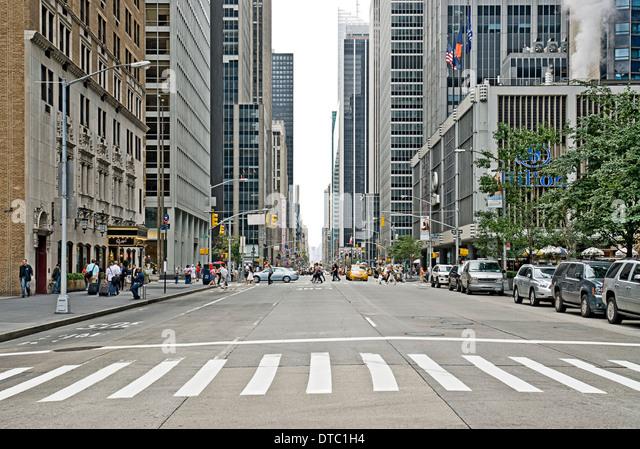 Empty Urban Street Scene On Avenue Of The Americas In New ...