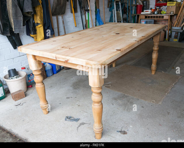 Delightful A Pine Dining Table Sanded Down In The Process Of Restoration   Stock Image