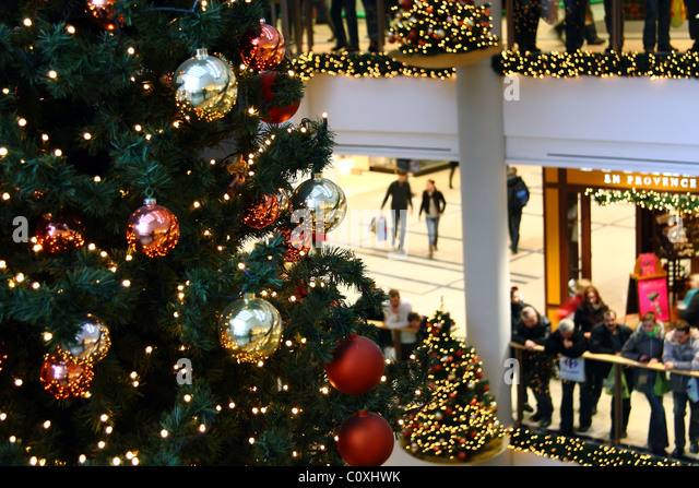 multilevel shopping mall interior decorated with christmas trees stock image - Decorated Christmas Trees For Sale