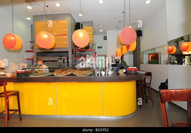 Israel, Tel Aviv, Pizza Shop   Stock Image