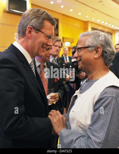 nobel prize laureate muhammad yunus r meets german president christian wulff l