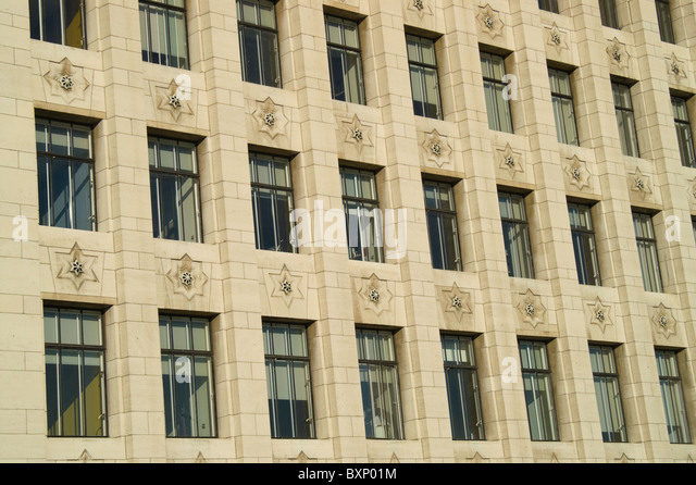 deco office. detail of windows pattern in a art deco office building stock image
