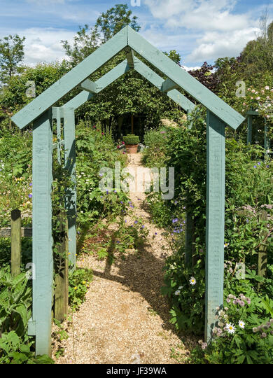 Exceptional Green Painted Wooden Arch Arbour Over Garden Path, Barnsdale Gardens,  Oakham, Rutland,