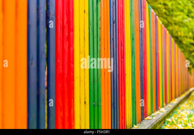 Abstract colorful wood fence in stock photos