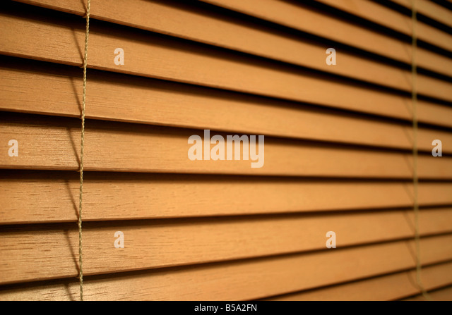 closeup detail of wooden slat blinds stock image
