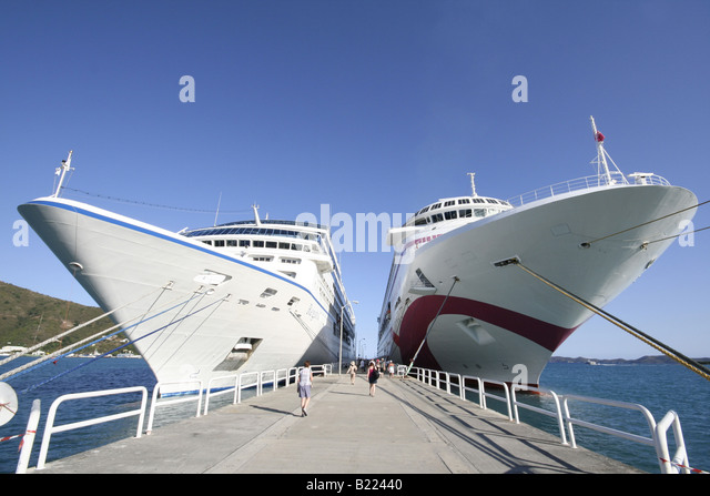 Tortola Cruise Ship Stock Photos Tortola Cruise Ship Stock - Port side of a cruise ship