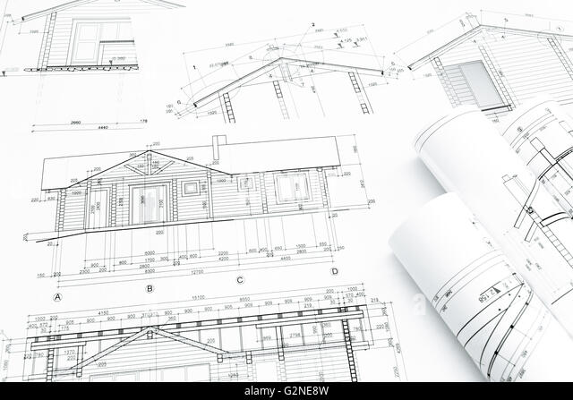 Architectural Blueprints And Construction Plans Rolls Of New Home G2ne8w Architectural Blueprints Construction Plans Rolls Stock