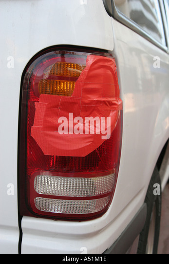Red duct tape repair stock photos red duct tape repair stock miami beach florida broken suv tail light red duct tape repair stock image aloadofball Image collections
