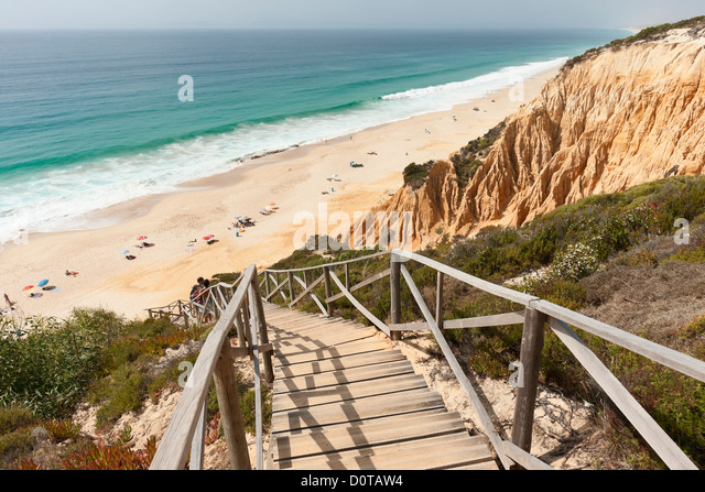 Superior Wooden Staircase In The Sandstone Cliffs Giving Access To Gale Beach,  Comporta, Portugal
