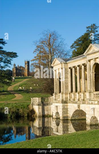 The Palladian Bridge And Gothic Temple, Stowe Landscape Gardens,  Buckinghamshire, England   Stock