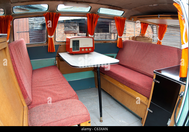 Vw bus interior stock photos vw bus interior stock for 99 bus table