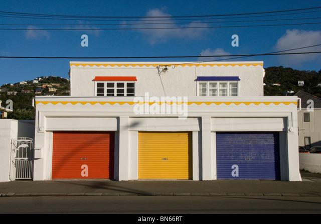 Red Yellow Blue Garage Doors Stock Photos Red Yellow Blue Garage