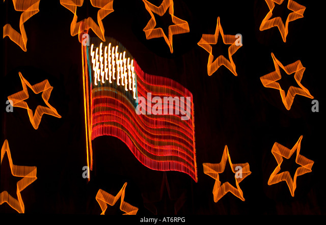 Abstract Christmas Lights Stock Photos American Flag Image