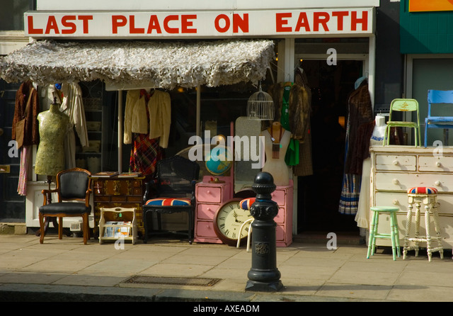 Second Hand Shop On In Kensington London UK   Stock Image
