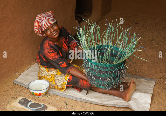 Basket Weaving Ghana : Baskets and handicrafts stock photos
