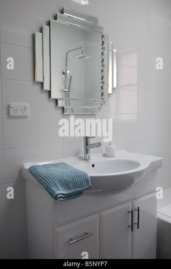 Modern Art Deco Style Bathroom Basin With Mixer Tap Ware And Reproduction Mirror