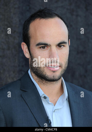landon donovan arrives at the time warner cable sports tv channel launch in el segundo