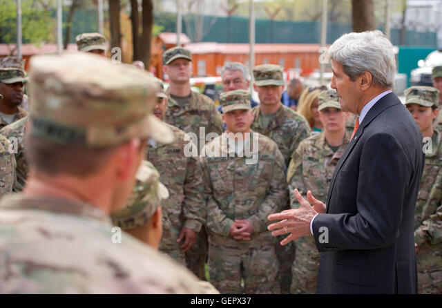Secretary Kerry Speaks To Troops At Camp Resolute Support Headquarters In Kabul Stock Image