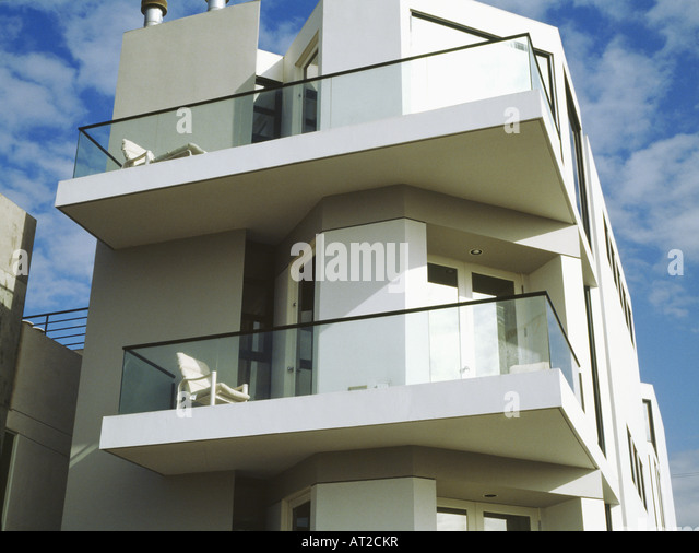 Monochromatic White Balconies Stock Photos Monochromatic White