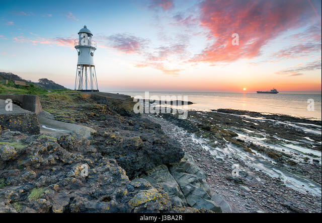 Black Nore Lighthouse At Portishead In Somerset Stock Image