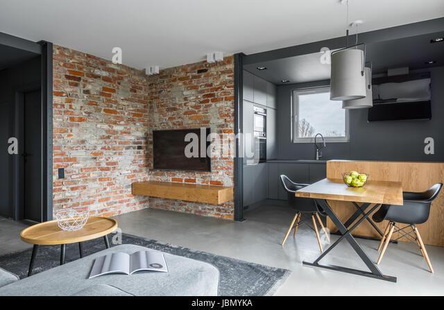 Modern Living Room With Open Dark Gray Kitchen