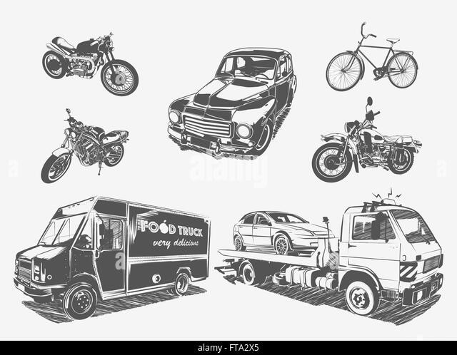 schaltplang viddyup com 95 honda civic brake line tuck on thevector illustration set of transport motorcycle bicycle car tow truck fta2x5 jpg