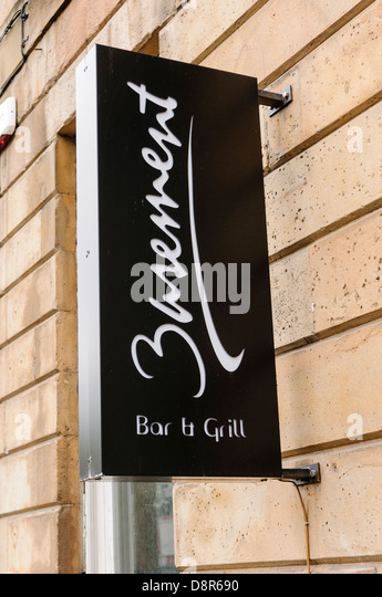 the basement bar and grill belfast stock image