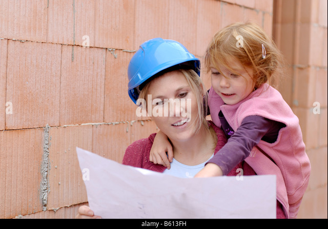 Hard hats construction plans stock photos hard hats for Mother daughter home plans