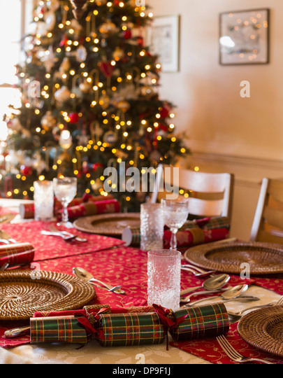Christmas dinner table - Stock Image