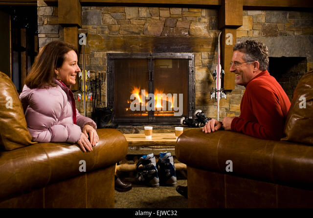 Couple In Front Fireplace Man Stock Photos Couple In Front